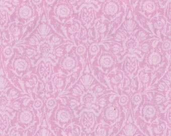 CLEARANCE by the PIECE Pink Damask Print Fabric Reproduction Historical Quilting Cotton Doll Clothes Past Crafts 17th 18th Cent