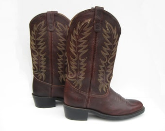 Vintage Cowboy Work Boots Double H Boot Company Work West Model 1546  Genuine Leather  US 7.5, UK 7