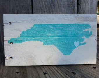 Handmade N.C. Sign, NC Sign, North Carolina Sign, Love Sign Repurposed Wooden Sign