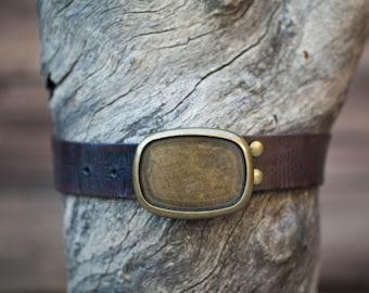 Children's Belt - Dark Brown Textured Leather Belt with Brass Oval Plate Buckle (Children's)