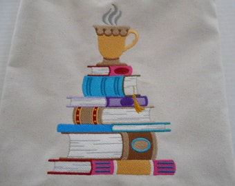 Reading and coffee!  This tote will carry your favorite novel and remind you to curl up and enjoy quiet time with your warm drink!