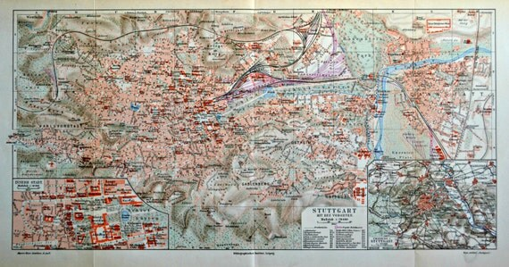 Stuttgart map. Old book plate, 1904. Antique  illustration. 111 years lithograph. 18'1 X 9'6 inches.