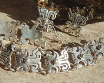 La Cucaracha ~ Vintage Mexico Sterling Silver Bracelet and Screwback Earrings
