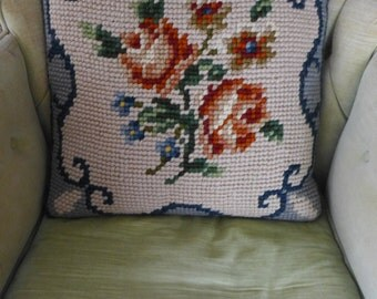 "Vintage Handmade Needlepoint pillow 18""X 18"""