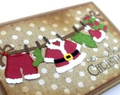 Christmas  Handmade Card, Merry Christmas, Christmas Card, Santa Card, Santa's Clothes, Clotheline card, clothesline card, santa's clothes
