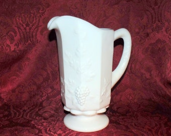 Westmoreland Heavy Milk Glass Pitcher Paneled Grape Pattern