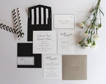 Modern Black & White Wedding Invitation Set