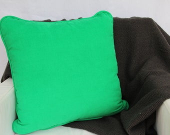Green piped corduroy cushion cover - 45cm x 45cm