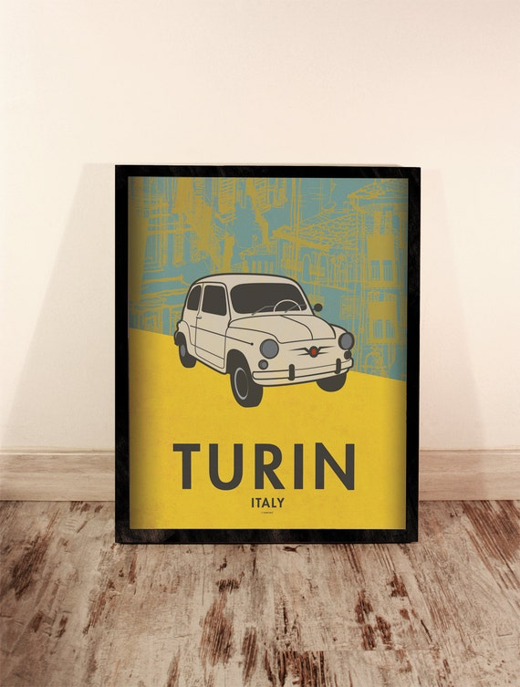 Turin print. Italy cityscape. Car poster. Home Decor. Wall decor art. Typography art. Digital print. City. Travel. 15,75x19,69 inch