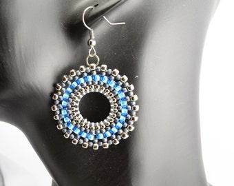 Hoop earrings.Beadwork.
