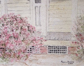 "Original landscape watercolor painting,Peter Kundra Artist,""AZALEAS"",9w x 6"""