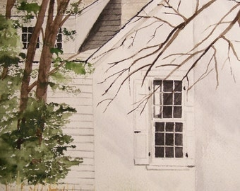 "watercolor painting,painting of Andrew wyeth studio,""THE OTHER SIDE"",11.25""x8""Peter Kundra,painters studio,chadds ford,white house, trees"