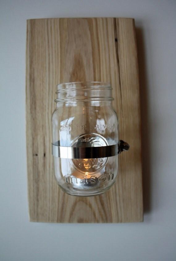 Mason Jar Wall Sconce Etsy : Items similar to Wall Mounted Mason Jar 8 - Sconce, Candle Holder, Vase or Terrrarium on Etsy