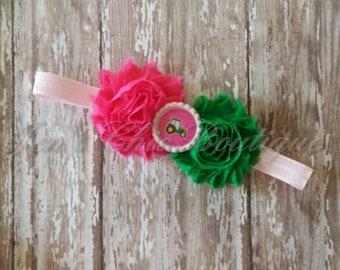 Pink John Deere tractor infant, toddler, or adult size elastic headband