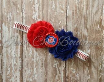 Chicago Cubs baseball infant, toddler, or adult sized elastic headband