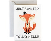 Thinking of You Card, Fox Card, Card for Friend, Friend Greeting Card, Fox Cards, Card Thinking of You, Get Well Card, Greeting Card