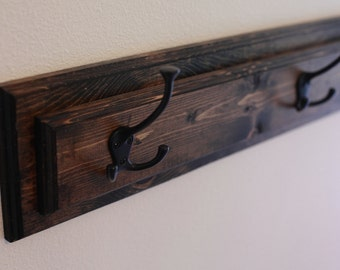 "Wood Coat Rack Hanger, Mud Room Organization, Entryway Coat Hook Board in Multiple Lengths- 24"", 36"", 48"", 60"", 72"""