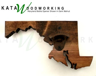 Maryland Wood Cut-out Bottle Opener - Wall Mount - Handmade!