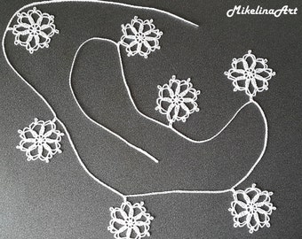 Crochet Christmas Garland, Snowflake Garland, Christmas Decoration, White.