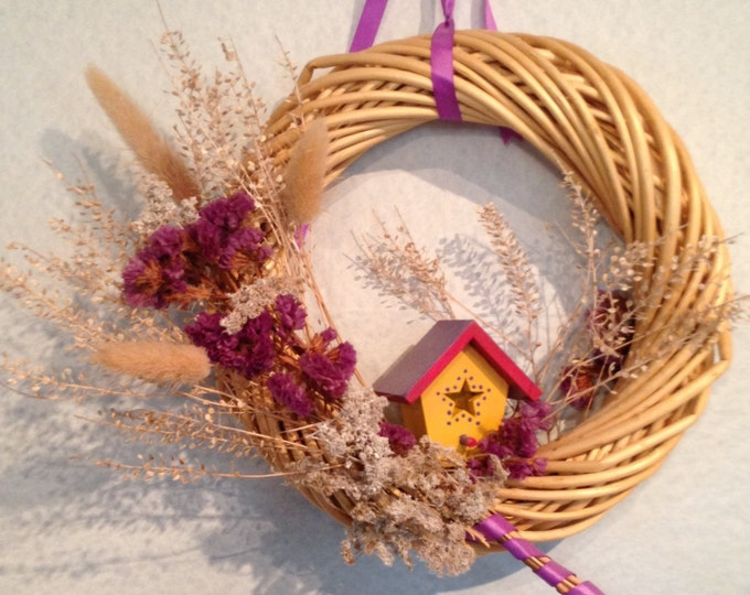 Cane Wreath with Birdhouse Accent • Charming Home Decor • Yellow and Fushia House • Purple Fuchsia and Lavender Ribbons • Crafts by the Sea