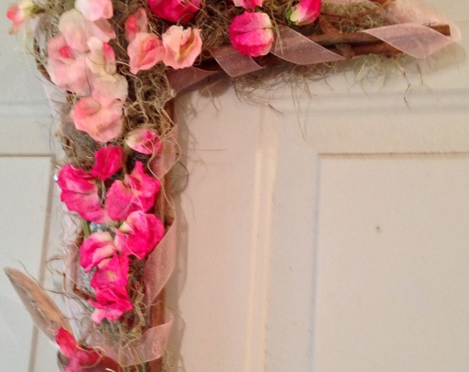 Grapevine Wreath • Corner Wreath • Bright Pinks and Fushias • Pink Bird and Bow • Home Decor • Crafts by the Sea