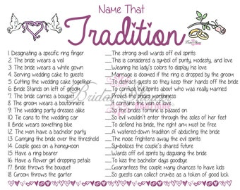 Name that Tradition/ Why Do We Do That Bridal Shower Game PURPLE -Fun, Detailed, & Cute!