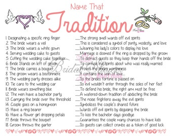 Name that Tradition/ Why Do We Do That Bridal Shower Game BLUSH -Fun, Detailed, & Cute!