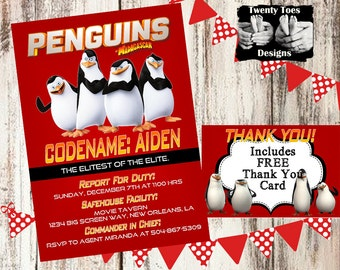 PENGUINS of MADAGASCAR 2014 Birthday Party Invitation, Flat Invite, Personalized, Customized, Printable