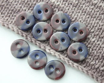 """10 Small Blue - Purple and Obsidian Grey Ceramic Buttons (21 mm / 0.8"""")"""