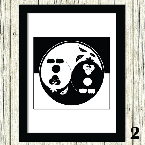 Items similar to 50 off sale yin yang custom art funny for Decoration murale yin yang