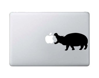 Hippo Eating Apple - Macbook Decal - Safari Animals - Home/Laptop/Computer/Phone/Car Bumper Sticker Decal