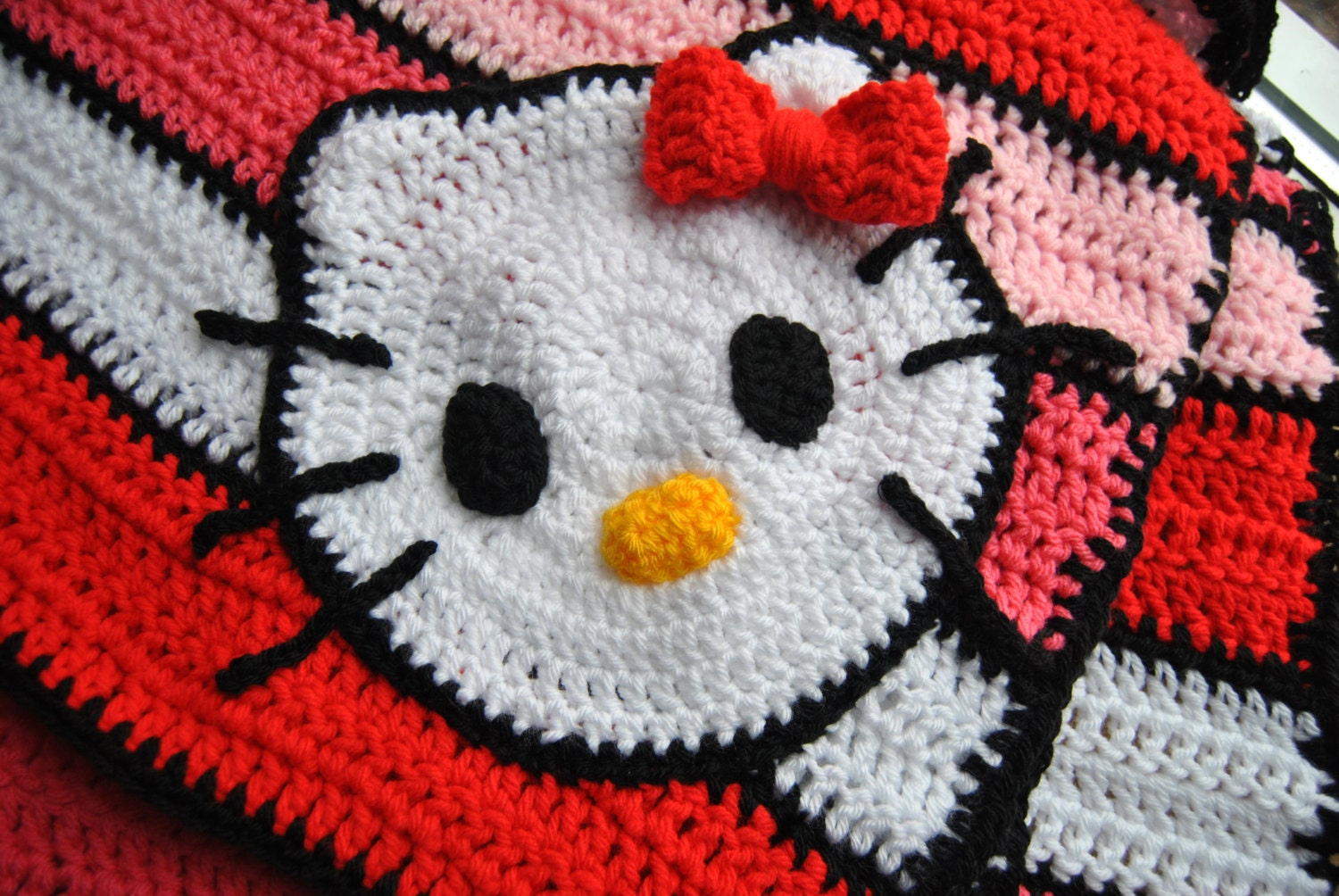 Hello Kitty Afghan crochet blanket Lap blanket for the kitty