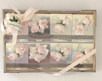 8 Silver Matches Pink Roses -Vintage  Wedding,Shower,New Baby,Decorations,Engagement,New Years
