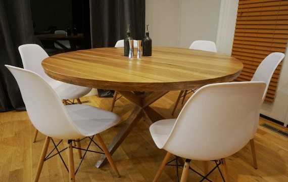 round mid century inspired modern dining table x by theplaidmill. Black Bedroom Furniture Sets. Home Design Ideas