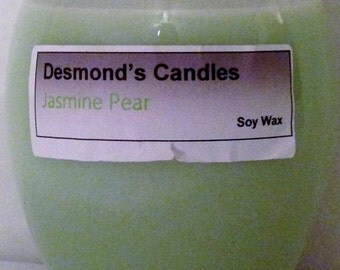 Desmond's Candles Homemade Scented Jasmine Pear Soy Jar Candle