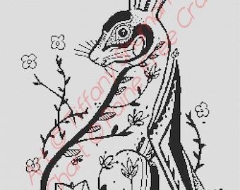 Hare - high quality cross stitch chart / pattern / kit, original art by Tiffany Shuman