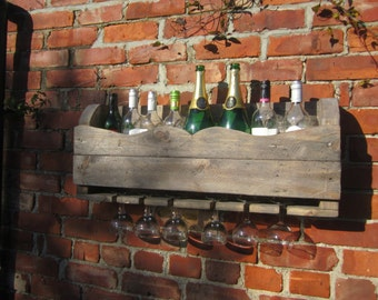wine rack and glass holder from reclaimed wood