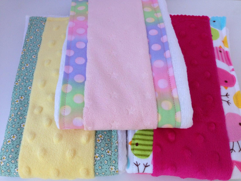 Cloth diaper burp cloth set Minky burp cloth set Baby girl