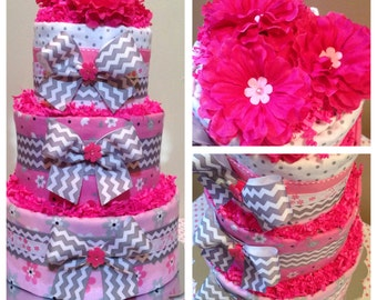 Baby Girl Diaper Cake.. Grey and Pink Baby Shower Centerpiece