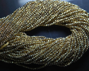 13.5 Inch Strand, Super Wholesale Price, Smaller Size Gold Pyrite Coated Faceted Rondelles 2.75mm