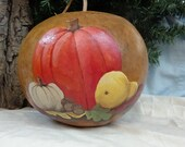 Hand Painted gourd,  autumn still life, unique gift, home decor, gourd art by Debbie Easley