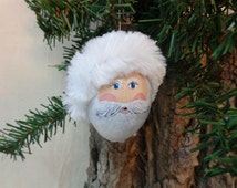 Santa ornament hand painted on a gourd, Christmas gourd art by Debbie Easley