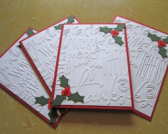 Christmas Thank You Cards, Holiday Thank You Cards, Embossed Thank You Notes, Thank You Christmas Card Set, Embossed Cards, Christmas Cards