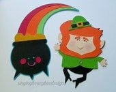 Leprechaun die cut,  Pot of Gold diecut, Leprechaun cutout,  St Patricks Day embellishment, DIY St Patricks Day party, Leprechaun craft