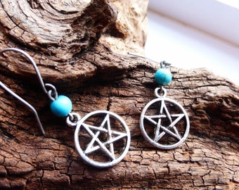 Water Element Pentacle Earrings - Turquoise Gemstone Titanium Earrings - Pentagram - Hypoallergenic - Four Elements - Elemental - Pagan