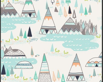Crib/Toddler fitted bed sheet, Indian summer, teepees, aqua-grey-grey