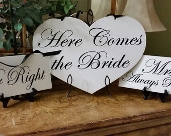 Here Comes the Bride & Just Married  Heart shape Sign