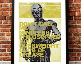 Star Wars Inspired C3PO Quote Print A3