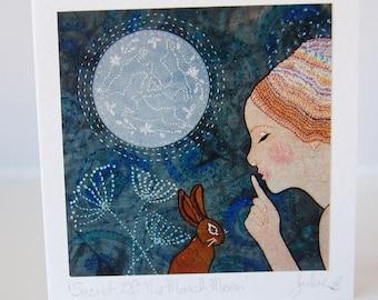 Goddess and Hare Blank Greeting Card, Celtic Goddess Arianrhod, Blank Notecard, Artist Card