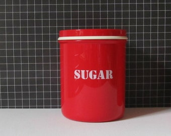 Sugar container, retro red Rosti Mepal plastic sugar jar from Holland